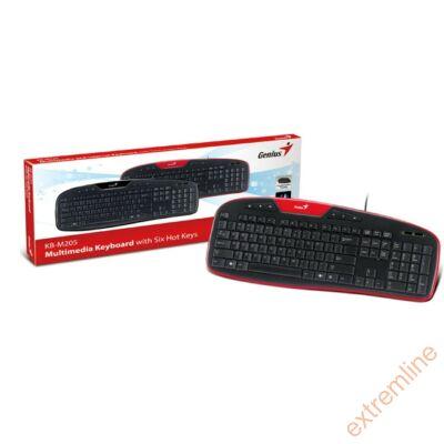 KEYB - GENIUS KB-M205 HU PS2 Fekete-piros