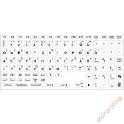 KEY - Billentyüzet matrica HU fehér alap/fekete betű(nagy) Kolink