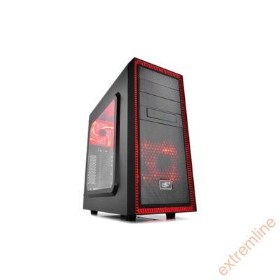 HZ - DeepCool Tesseract SW RED fekete USB3.0 táp nélkül alsó tápos
