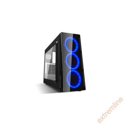 HZ - Spirit of Gamer Deathmatch V Blue ATX fekete ablakos USB3