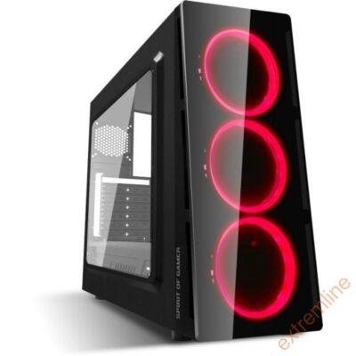 HZ - Spirit of Gamer Deathmatch V RED ATX fekete ablakos USB3