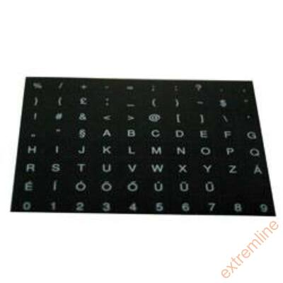 KEY - Billentyüzet matrica HU fekete alap/fehér betű